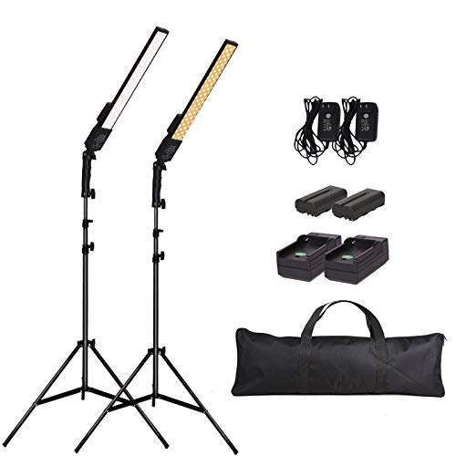 GSKAIWEN LED Video Light Battery Powered Photography Light Portable Handheld Wand,Dimmable 2800-5500K Photo Studio Light Kit with NP-550 Li-ion Battery and Stand for Portrait, YouTube,Outdoor Video