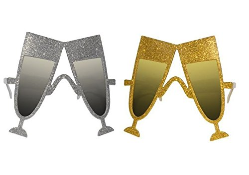 P'TIT Clown re35027 - Lunettes plastique paillettes, Flûte à champagne, Or et argent assorties