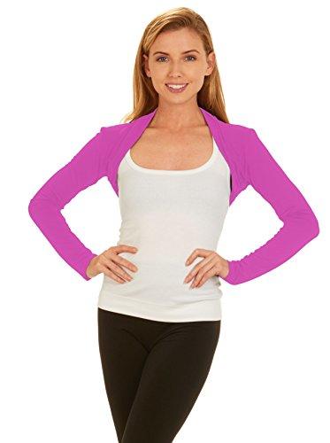 Red Hanger Womens Bolero Shrug - Long Sleeves Open Front Cropped Cardigan Blazer, Hot Pink-L
