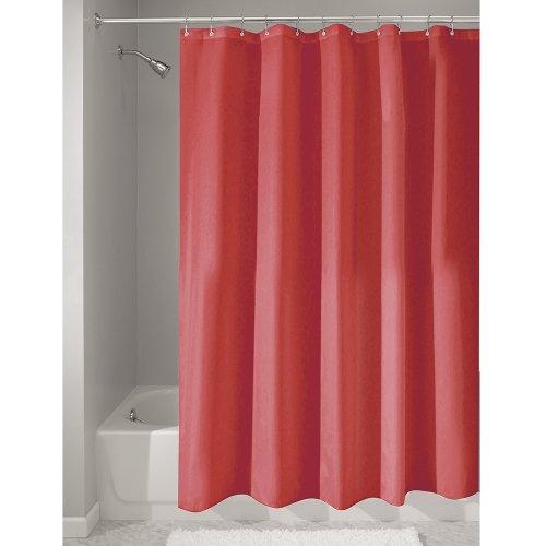 iDesign Duschvorhang aus Stoff | wasserdichter Duschvorhang mit verstärktem Saum | waschbarer Textil Duschvorhang in der Größe 183,0 cm x 183,0 cm | Polyester rot