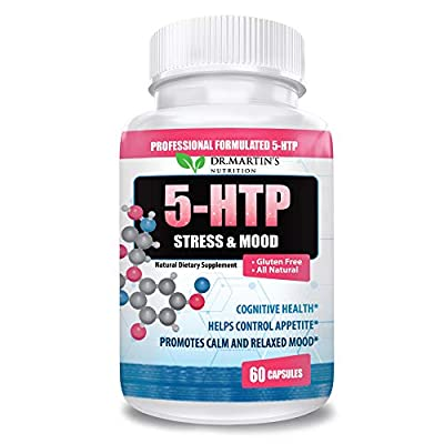 Dr. Martins Nutrition 5 HTP 200 mg Supplement -Natural Dietary Supplement| Promotes Calm Relaxed Mood | Helps Control Appetite| Cognitive Health | 60 Capsules | 5HTP for Women & Men