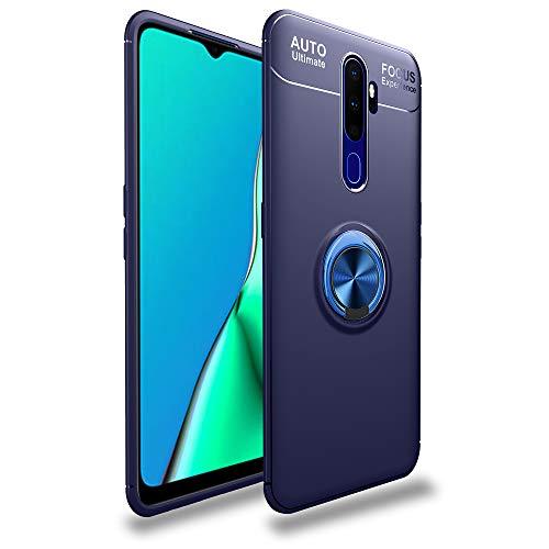 Dedux Hülle kompatibel mit Oppo Realme X2 Pro, Superdünnes Weiches Silikon Magnetischen Autohalterungen Handyhülle Mit 360 Verdrehbare Ring. Blau + Blau