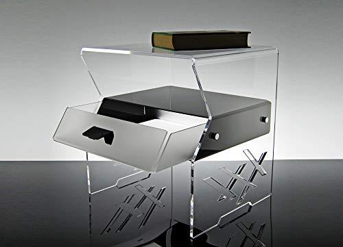 Slato Comodino con cassetto Design Moderno in plexiglass Amon (cm.35x41x43H)