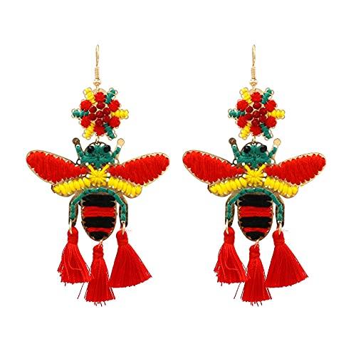 HMMJ Pendientes de botón para Mujer, Borla de Abeja pequeña Tejida a Mano, Pendientes Largos con Forma de Gota de Insectos, joyería (Color : Red)