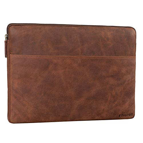 STILORD 'Murphy' Laptop Sleeve 15.6 inch Leather Vintage Case Cover for MacBook 16 inch and 15 inch Notebook Document Folder Organizer, Colour:Veleta - Brown