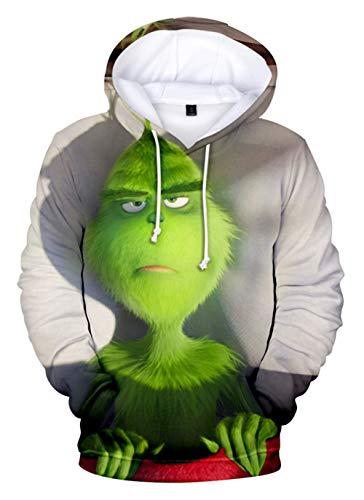 HUASON Kreativer Weihnachts Pullover Weihnachtsmann 3D Hoodie Lustiger Bequemes Langarm Sweatshirt für Herren und Damen(M)