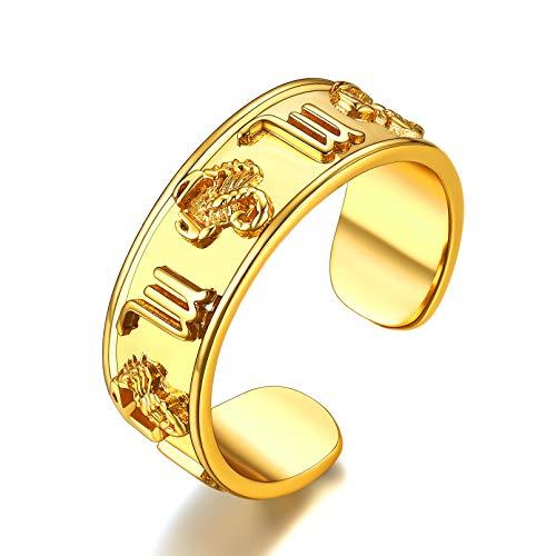 FaithHeart Signo Escorpio Anillo Horóscopo para Hombres Anillo Boca Abierta Cobre para Dedos Joyería Preciosa para Parejas Cumpleaños