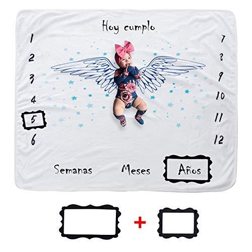 JMITHA Manta para bebé con diseño de hito mensual, fondo de fotos de Navidad, manta para envolver bebés Número de bebé (e-Alas de ángel 2) 100x100cm