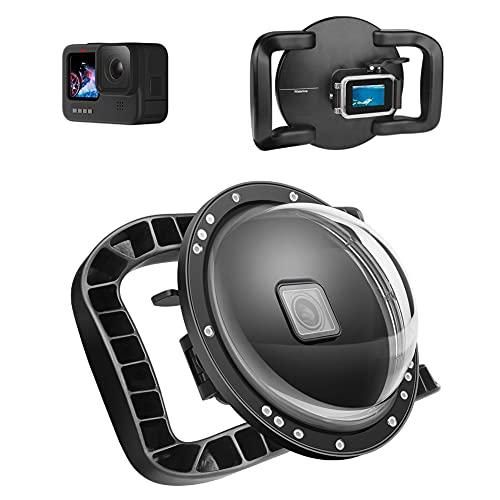 Caso del puerto de la cúpula Caso de la cubierta DUAL Handle Dome Port Compatible con GoPro 9 Estuche de cúpula de alojamiento integrado bajo el agua para Gopro Hero 2018 Hero 6 Hero 5 Hero 7 Black
