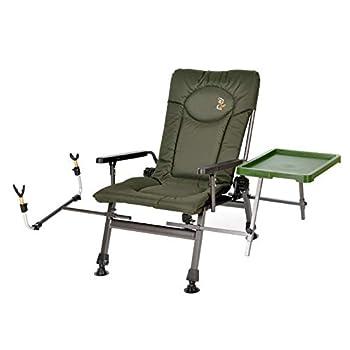 Carp F5R ST/P Chaise de pêche Deluxe pour la pêche à la carpe avec hauteur supplémentaire et support pour canne à pêche
