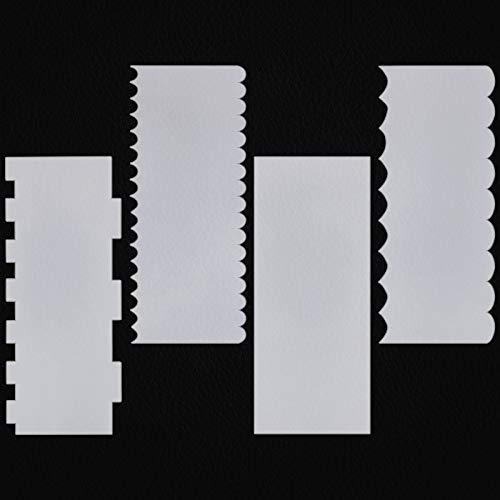 4 piezas de acrílico transparente para decoración de pasteles y pasteles, juego de peine, espátulas de crema y azúcar, molde para decoración de tartas, 4 estilos