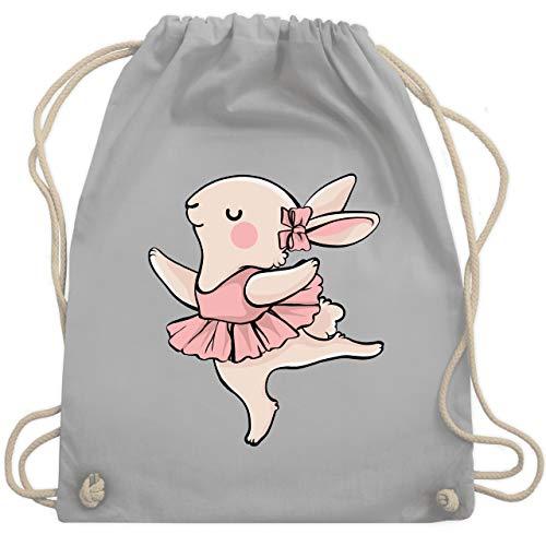 Shirtracer Tiermotive Kind - Ballerina Hase - Unisize - Hellgrau - turnbeutel hase - WM110 - Turnbeutel und Stoffbeutel aus Baumwolle