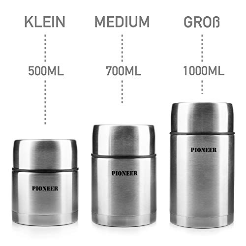 Pioneer Vacuum Insulated Leakproof Soup/Food Flask, 8 Hours Hot 24 Hours Cold, Stainless Steel, 500 ml