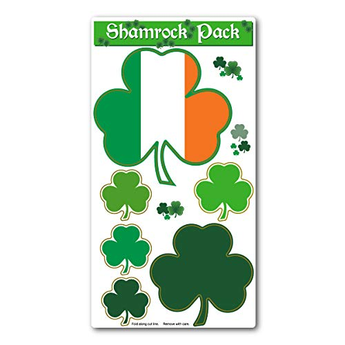Magnet Variety Pack (6 Magnets) - Shamrocks (Irish, Clovers, St. Patrick's Day) - Refrigerators, Cars, Mailboxes, Decoration - 1.75' to 4.75' Wide (Each Shamrock)