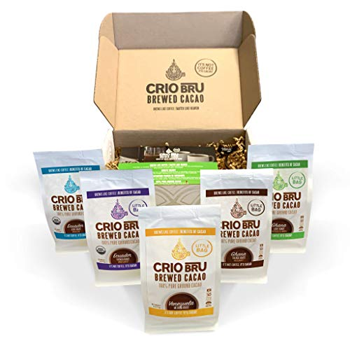 Sampler Starter Kit/ Set (5 Varieties)   Natural Healthy Brewed Cacao Drink   Great Substitute to Herbal Tea and Coffee   99% Caffeine Free   Keto Whole-30 Honest Energy (Kit (No French Press))