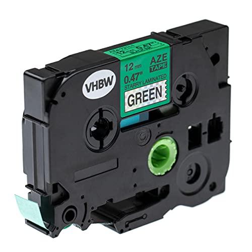 vhbw Casete cinta de escritura compatible con Brother P-Touch 2000, 2030, 2030AD, 2030VP, 210, 2100 impresora etiquetas 12 mm Negro a Verde (brillo)