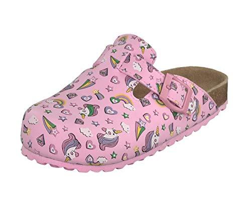 Supersoft Mädchen Clogs Riemen Hausschuhe Lederfußbett 476-169 Einhorn Pink (Numeric_34)
