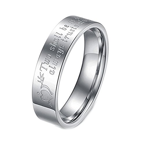 Geminis Fashion Jewelry Two Shall Be As One. Always Protects. Always Trust. Always Love Stainless Steel Promise Couple Ring-Men
