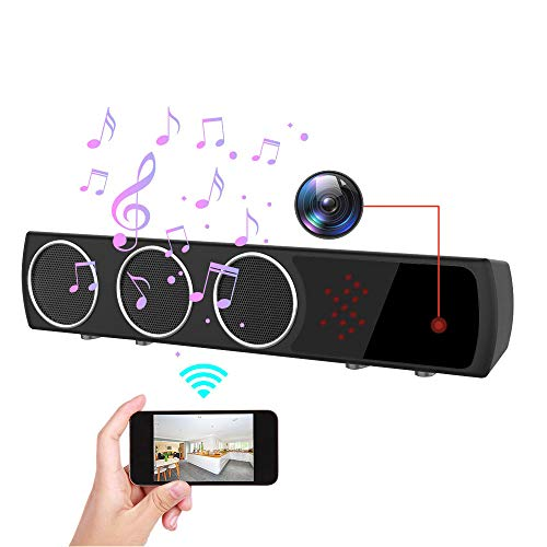 Hidden Camera in Bluetooth Speaker with Stronger Night Vision, Wireless 1080P WiFi HD Spy Camera with Motion Detection/Real-Time View Mini Nanny Cam for Room, Office or Shop.(Black)