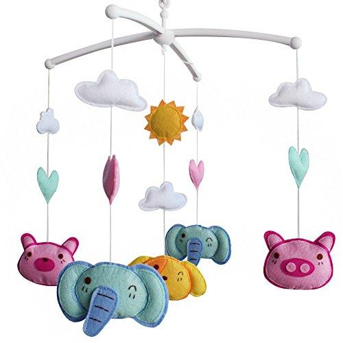 Berceau pour bébé avec animaux mignons, nursery mobile, décor de nursery coloré