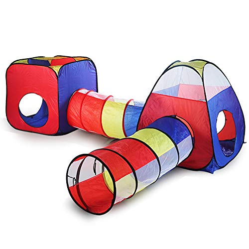 ZHZX 4pc Kids Play Tent - 2 Tents + 2 Crawl Tunnels– Indoor/Outdoor Playhouse for Boys and Girls – Lightweight, Easy to Setup (Balls Not Included)
