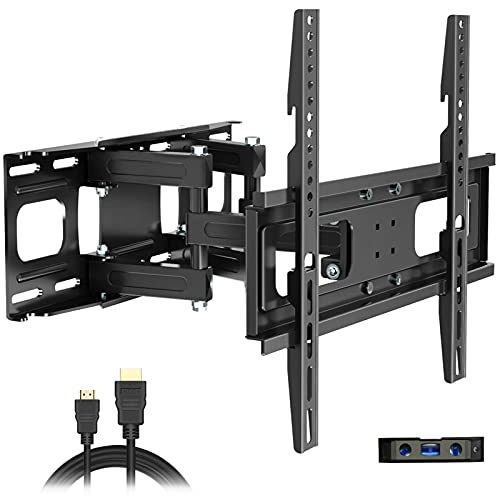 Full Motion TV Wall Mount with Height Setting, JUSTSTONE TV Bracket Fits Most 27-65 Inch LED Flat&Curved TVs,Articulating Swivel Tilt Dual Arms Extension Max VESA 400x400mm and Holds up to 121 LBS. Buy it now for 32.96