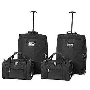 5Cities carrito para cabina Ryanair y segunda maleta de mano Ryanair, 55cm, 42L, Negro