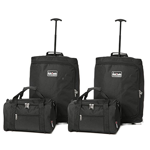 5 Cities Ryanair Max Cabin Trolley and Ryanair Second Bag Hand Luggage, 55 cm, 42 Litre, Black