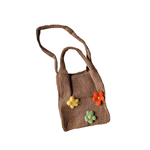 FaLAIws Knitted Wool Children's Small Satchel With Small Flower Accessories