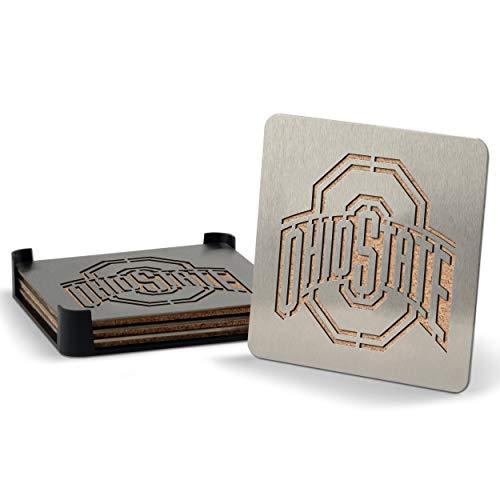 YouTheFan NCAA Ohio State Buckeyes Boaster Stainless Steel Coaster Set of 4 , 4' x 4'