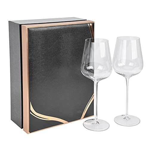 Juego de 2 copas de vino de Borgoña con vástago, cuencos de vino de cristalería universales transparentes avanzados sin plomo para uso en el restaurante del hotel en casa