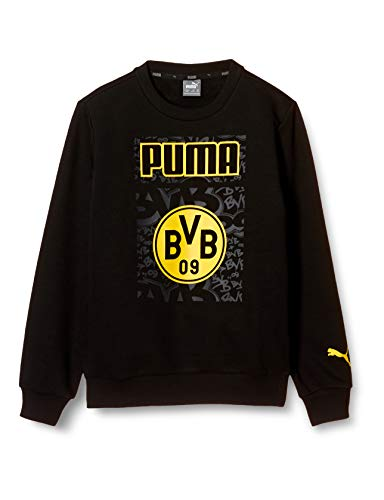 PUMA Jungen BVB ftblCore Graphic Crew Sweat Jr Pullover, Black-Cyber Yellow, 176