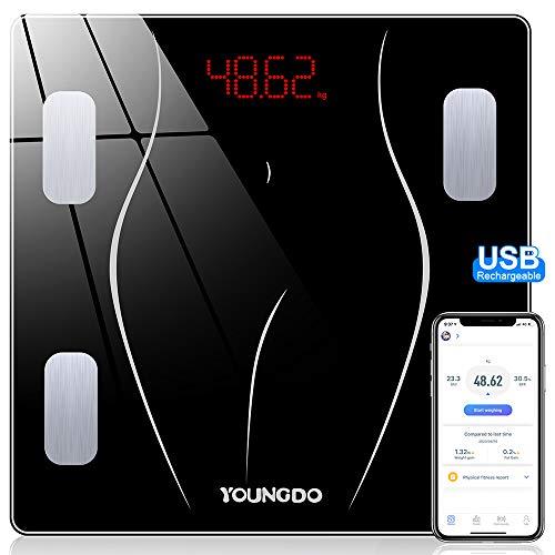 YOUNGDO Báscula Grasa Corporal y Muscular - 30 * 30cm, 23 Medidas Corporales con App,USB Recargable, Báscula de Baño, Balanza Bluetooth Digital, Báscula Inteligente,Peso IMC Visceral(ST/LB/KG)
