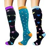 ACTINPUT 3 Pares Calcetines de compresión para Mujeres y Hombres 20-25 mmHg es el Mejor atlético, Correr,Escalar Montaña,Vuelo, Viajes, Enfermeras, Edema (Color 04-3 Pares, S-M)