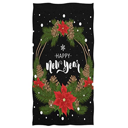 Jesse Tobias Toallas de Mano de Navidad Toalla de baño, Guirnalda de Flores de Nochebuena Roja Toalla de baño de Estrella Negra Toalla de baño de Invierno Feliz Navidad Decoración Regalos