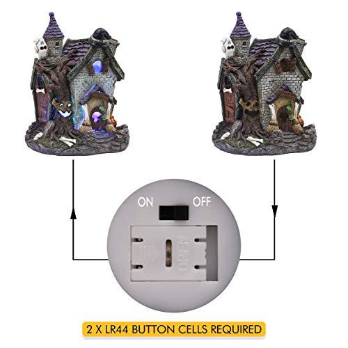 Valery Madelyn Decorazione di Halloween, Statua di casa con Cappello da Strega Zucca, Ornamento di casa stregata illuminata a Mano Chiesa illuminata e Tema Happy Halloween 22cm