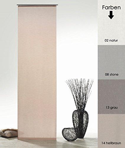fashion and joy Flächenvorhang Natur Batist Optik inkl. Zubehör HxB 245x60 cm in Hellbraun - Schiebegardine einfarbig matt Natural Chic Gardine Typ410