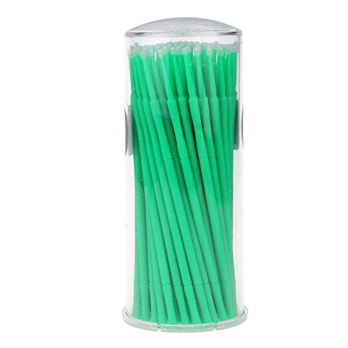 HuntGold 100 pièces micro pinceaux jetable écouvillon applicateur des yeux cils extension vert