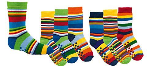 TippTexx 24 6 Paar Kinder Thermo Stoppersocken, ABS Socken für Mädchen und Jungen, Ökotex Standard, Strümpfe mit Noppensohle, viele Muster (Gute Laune Ringel, 27-30)