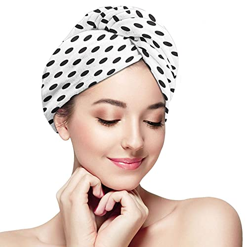 Black Dots Hair Towel Wraps for Women Super Soft Dry Hair Cap Quick Dry Anti-frizz Head Turban Durable Wrapped Bath Cap for Long Thick & Curly Hair