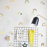 PISKLIU Wandsticker Wandfiguren PVC 24 Teile/Satz Regenbogen DIY Vinyl Kinderzimmer Bunte...
