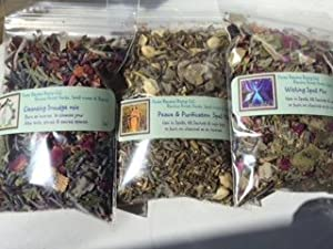 Ravenz Roost Spell Mix Sampler ~ Wishes ~ Peace & Purification ~ Cleansing Smudge Mix ~ 3 mixes only Herbs