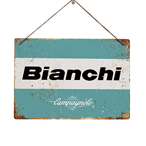 MancaveEssentials UK Bianchi Logo Campagnolo – Réplica Vintage Metal Wall Sign Retro Garage Shed Bike, Twine/String (28x20cm)
