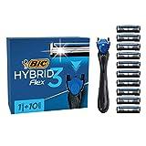 BIC Razors Hybrid3 Flex Rasoir Rechargeable Homme, Manche 90% Plastique Recyclé, 10Recharges 3Lames, Bande Lubrifiante - Pack de 1+10