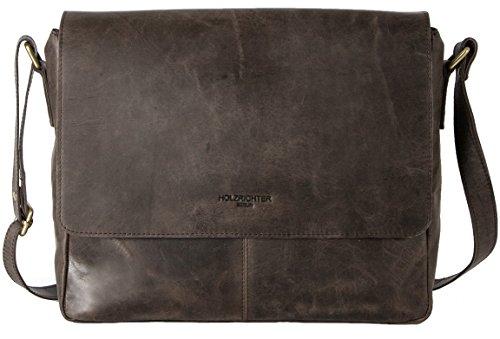 HOLZRICHTER Berlin - Premium Umhängetasche (S) aus Leder - Handgefertigte Messenger Bag im Vintage Design - Ledertasche für Herren und Damen - dunkel-braun