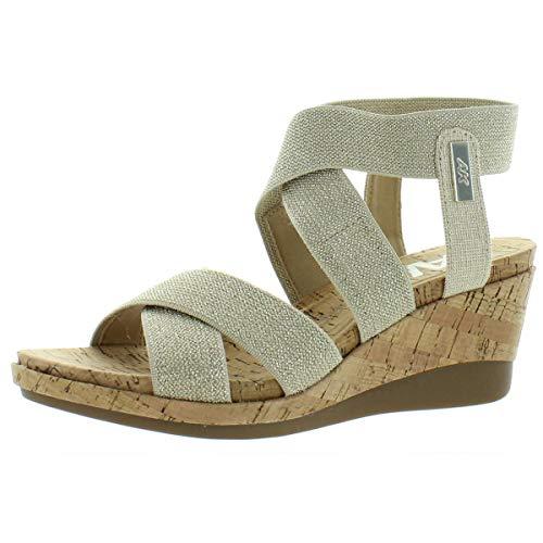 AK Anne Klein Sport Women's Heeled Sandal Platform, Natural/Platinum, 10