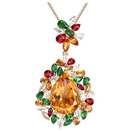 ANAZOZ Echtschmuck 18 Karat 750 Gold Damen Halskette 18CT Citrin Wassertropfen Blume Anhänger Halsketten Bunt Schmuck