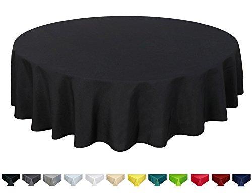 Qualitäts Tischdecke Textil Rund 180 cm, Farbe wählbar Schwarz