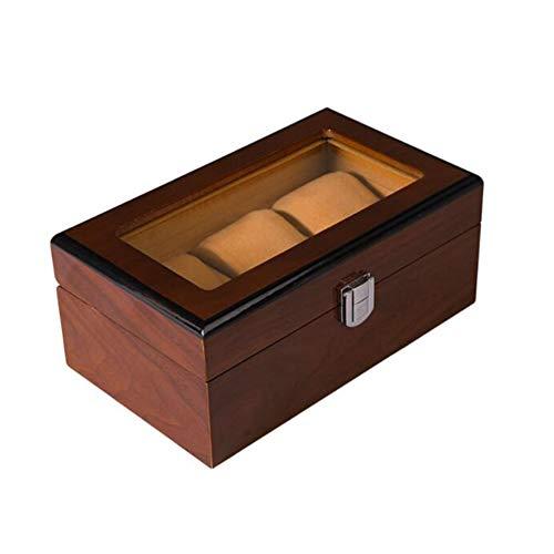 SXFYHXY Watch Box Tavolo Multiposizione con Ampio vano portaoggetti Fodera in Velluto Scatola da Esposizione Selezione, Wood,3SLOTS