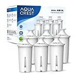 Replacement for Brita Pitchers & Dispensers, NSF, TÜV SÜD Certified Pitcher Water Filter, 1 Year Filter Supply, Compatible with Brita Classic OB03, Mavea 107007, and More, by AQUA CREST (6 Packs)